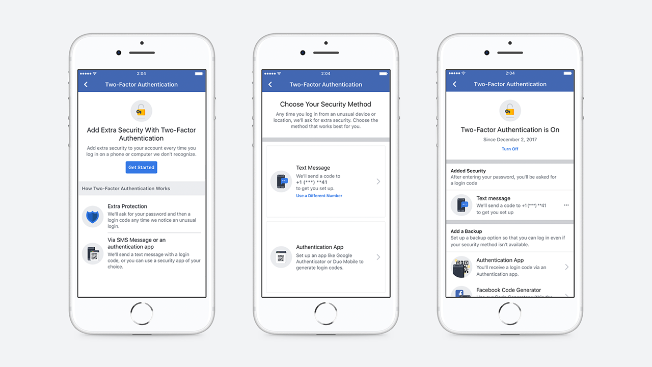 Dvoufaktorová autentizace Facebook