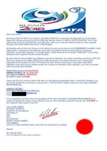 Ukázka certifikátu s falešnou výhrou