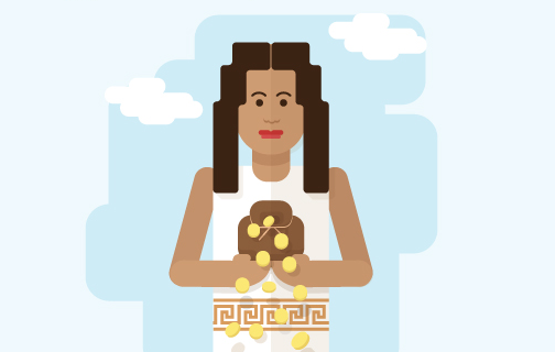 žena drží mince