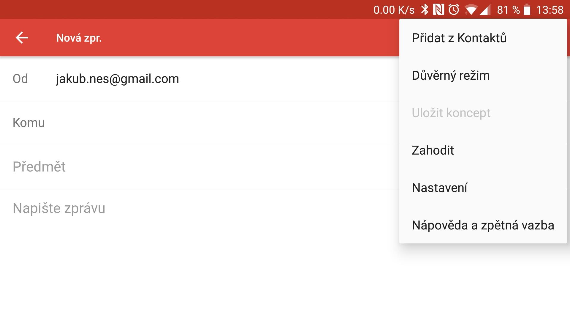 Screen z aplikace Gmail
