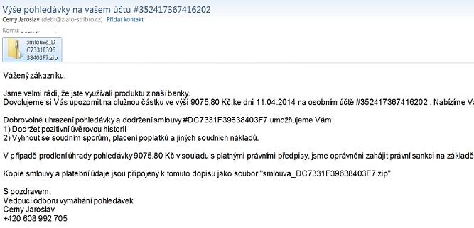 Ukázka e-mailu