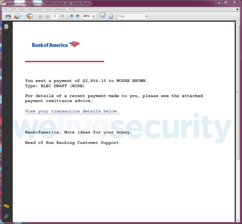 Příklad škodlivého PDF dokumentu