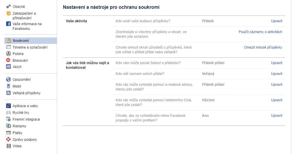 facebook nastavení soukromí