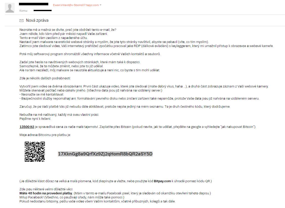 Náhled vyděračského e-mailu.