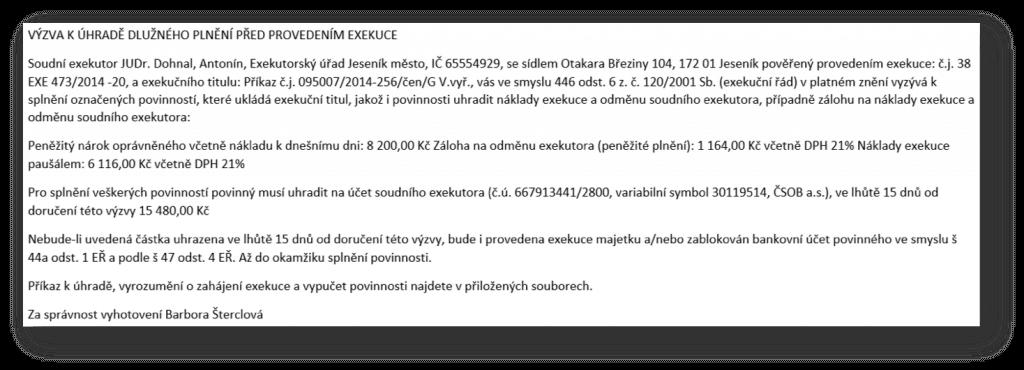 Ukázka podvodného e-mailu s exekucí