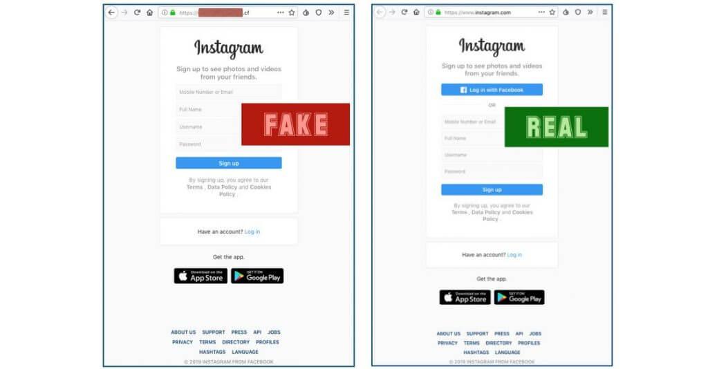 Obrázek podvodné a oficiální přihlašovací stránky na Instagramu